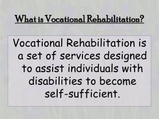 What is Vocational Rehabilitation?