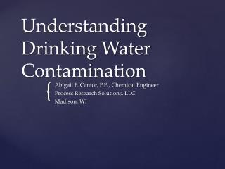 Understanding Drinking Water Contamination