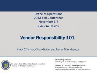 Vendor Responsibility 101