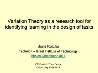 Variation  Theory  as a research tool for identifying  learning  in the design of  tasks