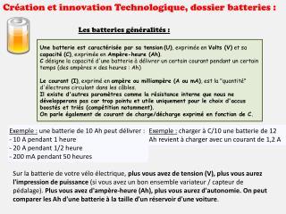 Création et innovation Technologique, dossier batteries :