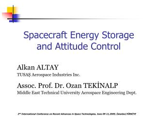 Spacecraft Energy Storage and Attitude Control