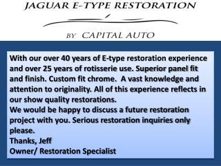 Jaguar Restoration - Jaguar E-type Restoration