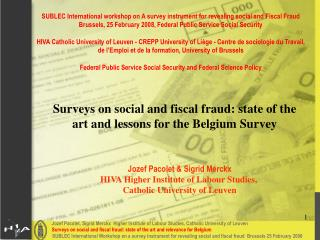Surveys on social and fiscal fraud: state of the art and lessons for the Belgium Survey
