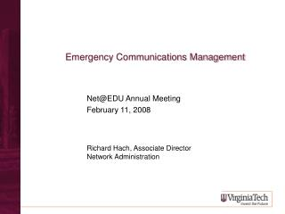 Emergency Communications Management