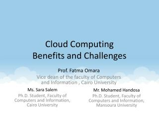 Cloud Computing Benefits and Challenges