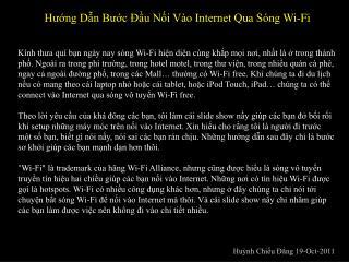 Hướng Dẫn Bước Đầu Nối Vào Internet Qua Sóng Wi-Fi