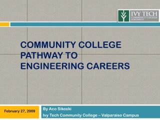 Community College Pathway to engineering careers