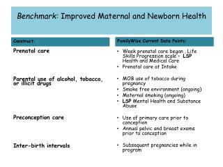 Benchmark:  Improved Maternal and Newborn Health