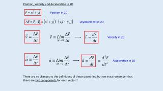 Position, Velocity and Acceleration in 2D
