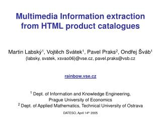 Multimedia Information extraction from HTML product catalogues