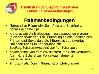 Handball im Schulsport in Westfalen   Lokale Folgeveranstaltungen