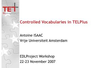 Controlled Vocabularies in TELPlus