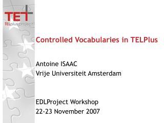 Controlled Vocabularies in TELPlus