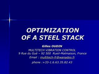 OPTIMIZATION  OF A STEEL STACK