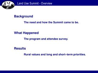 Land Use Summit - Overview