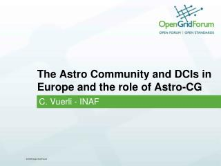 The Astro Community and DCIs in Europe and the  role  of Astro-CG