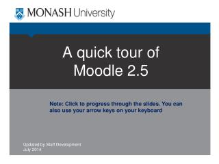 A quick tour of Moodle 2.5