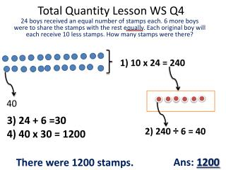 Total Quantity Lesson WS Q4