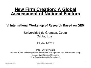 New Firm Creation: A Global Assessment of National Factors