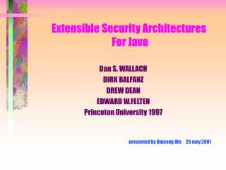 Extensible Security Architectures  For Java