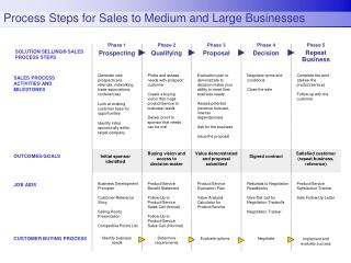 Process Steps for Sales to Medium and Large Businesses