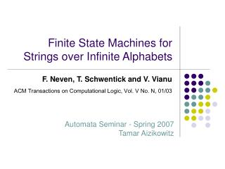 Finite State Machines for Strings over Infinite Alphabets