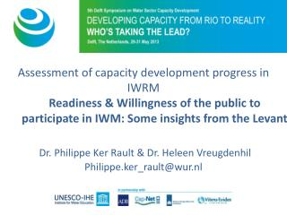 Assessment of  capacity development progress  in  IWRM