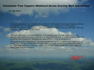 Tennessee Tree Toppers Weekend Series Scoring Web Application
