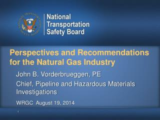 Perspectives and Recommendations for the Natural Gas Industry