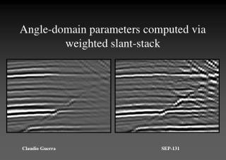 Angle-domain parameters computed via weighted slant-stack