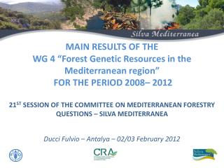 Preparation of the  Work Plan of WG4  to be presented in Chania (GR).