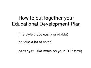 How to put together your Educational Development Plan