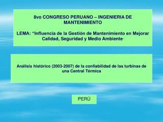 Análisis histórico (2003-2007) de la confiabilidad de las turbinas de  una  Central Térmica