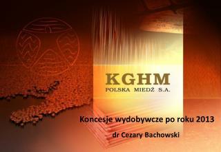 Koncesje wydobywcze po roku 2013 dr Cezary Bachowski