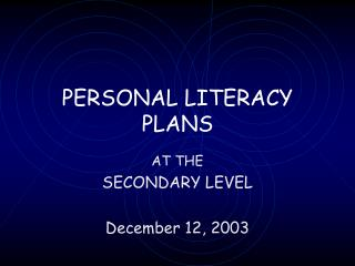 PERSONAL LITERACY PLANS