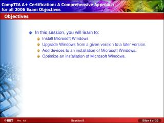 In this session, you will learn to: Install Microsoft Windows.