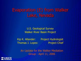 Evaporation (E) from Walker Lake, Nevada