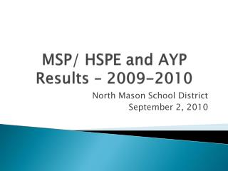 MSP/ HSPE  and AYP  Results – 2009-2010