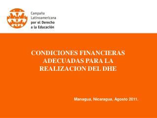 CONDICIONES FINANCIERAS ADECUADAS PARA LA  REALIZACION DEL DHE