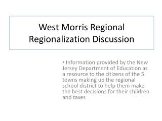 West Morris Regional Regionalization Discussion