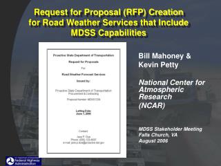 Request for Proposal (RFP) Creation for Road Weather Services that Include MDSS Capabilities