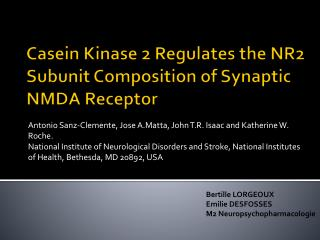 Casein  Kinase 2  Regulates  the NR2  Subunit  Composition of  Synaptic  NMDA  Receptor