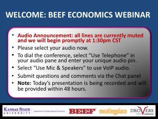 WELCOME: BEEF ECONOMICS WEBINAR