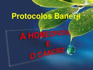 A HOMEOPATIA E  O CANCRO