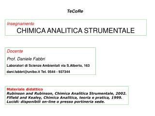 Insegnamento CHIMICA ANALITICA STRUMENTALE