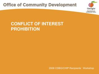 CONFLICT OF INTEREST PROHIBITION