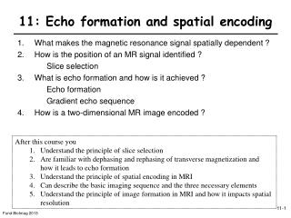 11: Echo formation and spatial encoding