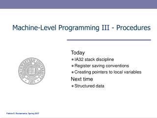 Machine-Level Programming III - Procedures