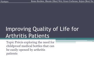Improving Quality of Life for Arthritis Patients